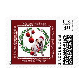 Bulldog Christmas Hugs & Kisses Postage Stamp #3a