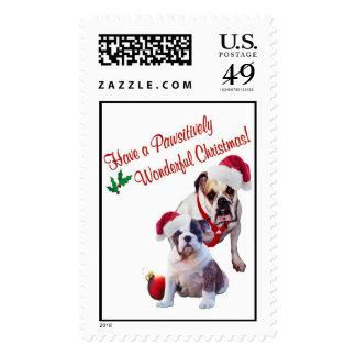 Bulldog Christmas Postage Stamp
