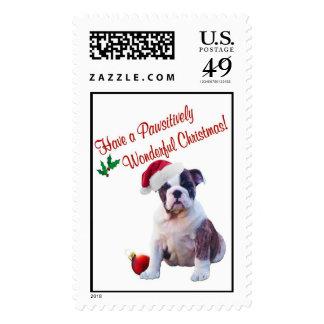Bulldog Christmas Postage Stamp #2