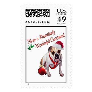 Bulldog Christmas Postage Stamp #3