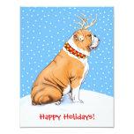 Bulldog Christmas Reindeer Red & White 4.25x5.5 Paper Invitation Card