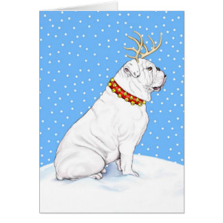 Bulldog Christmas Reindeer White Greeting Cards