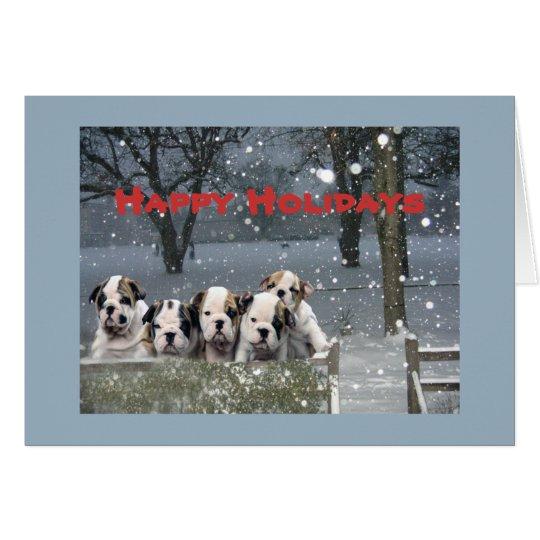 Bulldog Christmas Snow Scene Greeting Card