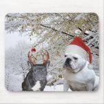 Bulldog Christmas snow scene Mouse Pad