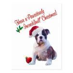 Bulldog Christmas Wishes Postcard