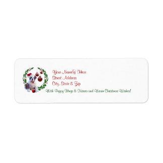 Bulldog Christmas Wishes Return Address Label #2