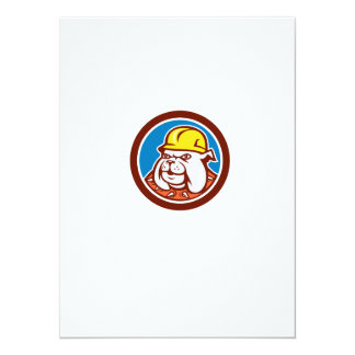 Bulldog Construction Worker Head Cartoon 5.5x7.5 Paper Invitation Card