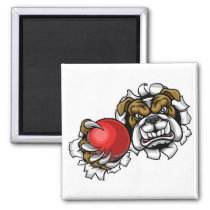 Bulldog Cricket Sports Mascot Magnet