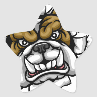 Bulldog Cricket Sports Mascot Star Sticker