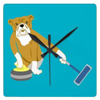 Bulldog Curling Square Wall Clock