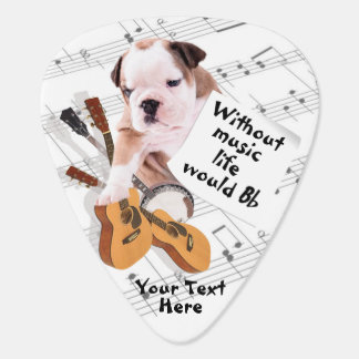 Bulldog Design - Without Music Life Would B Flat Guitar Pick