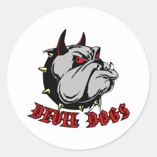 Bulldog Devil Dogs Round Stickers