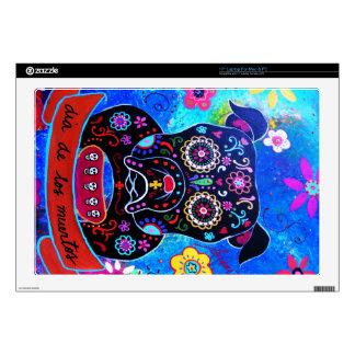 Bulldog Dia de los Muertos Painting Laptop Skins