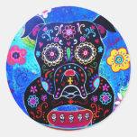 Bulldog Dia de los Muertos Painting Round Stickers