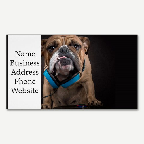 bulldog dj - dj dog magnetic business card