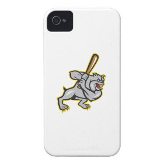 Bulldog Dog Baseball Hitter Batting Cartoon iPhone 4 Covers