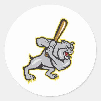 Bulldog Dog Baseball Hitter Batting Cartoon Classic Round Sticker