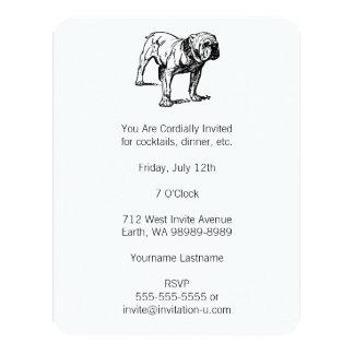 """Bulldog Dog Business 4.25"""" X 5.5"""" Invitation Card"""