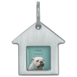 Bulldog dog custom name & phone no. pet dog id tag