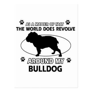 Bulldog dog designs postcard