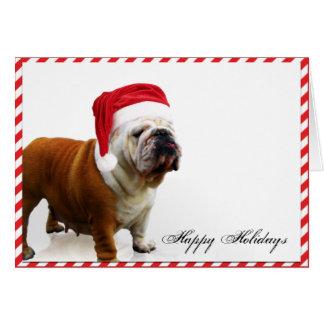 Bulldog Dog in Santa Hat Christmas Card