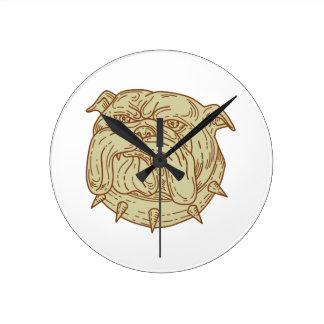 Bulldog Dog Mongrel Head Collar Mono Line Round Clock