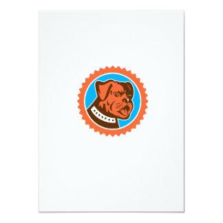 Bulldog Dog Mongrel Head Mascot Rosette 4.5x6.25 Paper Invitation Card