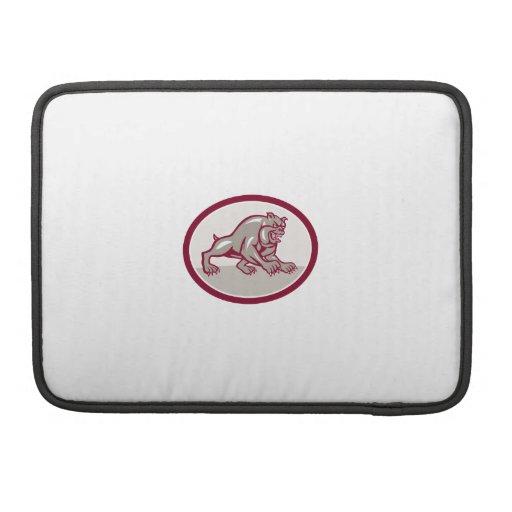 Bulldog Dog Mongrel Prowling Oval Cartoon MacBook Pro Sleeves