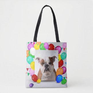 Bulldog Dog with colorful Balloons Birthday Theme Tote Bag