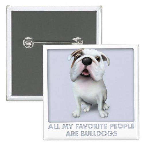Bulldog (English) Favorites 2 Inch Square Button