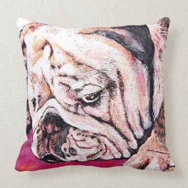 Beach Themed Bulldog Face Throw Pillow