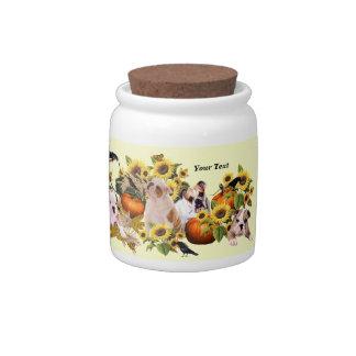Bulldog Fall Harvest Design Porcelain Candy Jar