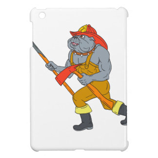 Bulldog Firefighter Pike Pole Fire Axe Drawing iPad Mini Cases