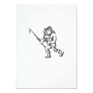 Bulldog Firefighter Pike Pole Fire Axe Tattoo Card