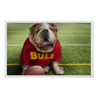 Bulldog Football Time Art Print Poster