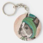 Bulldog Frances con gorro de lana Llavero Redondo Tipo Pin