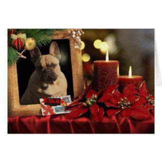 Bulldog francés tarjeta de navidad