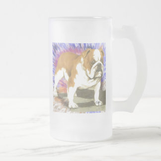 Bulldog Frosted Glass Beer Mug