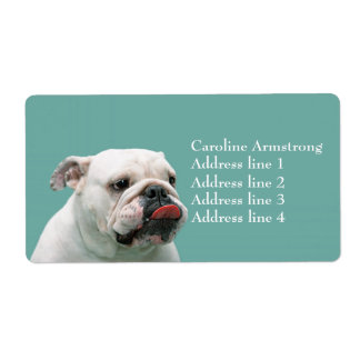 Bulldog funny face tongue custom address labels