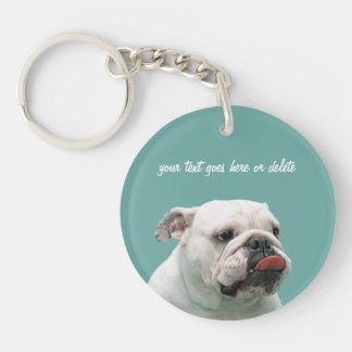Bulldog funny face with tongue custom, gift keychain