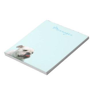 Bulldog funny face with tongue notepad, gift memo pads