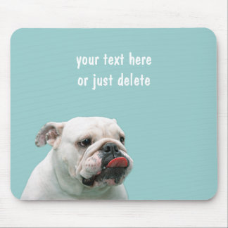 Bulldog funny face with tongue sticking out custom mouse pad
