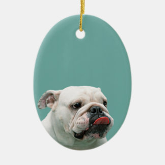 Bulldog funny face with tongue sticking out, gift Double-Sided oval ceramic christmas ornament