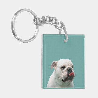 Bulldog funny face with tongue sticking out, gift keychain