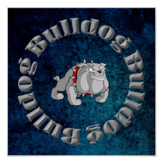 BULLDOG GRAY CARTOON POSTER
