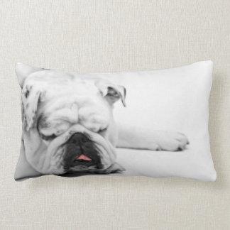 Bulldog Gray White Sleeping Decor Throw Pillow