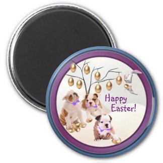 Bulldog Happy Easter Gold Easter Egg Tree Design 2 Inch Round Magnet