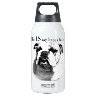 Bulldog Happy Face Insulated Water Bottle