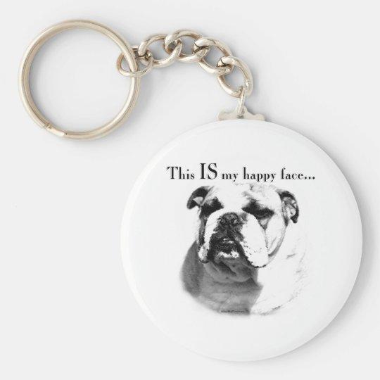 Bulldog Happy Face Keychain