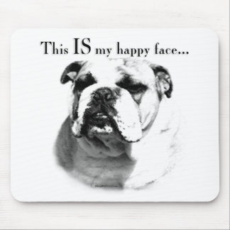Bulldog Happy Face Mouse Pad